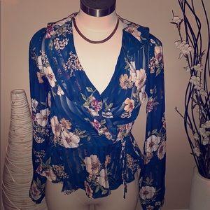 Dark blue sheer tie blouse
